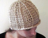 Crochet Beanie Hat - Tan Soysilk Wool Blend - Adult Large- Ready to Ship