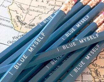 I Blue Myself Pencil 6 pack in Blue