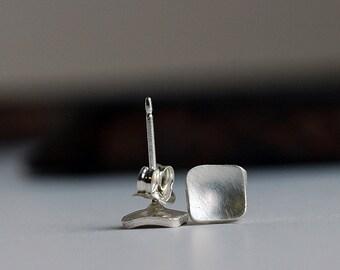 Square Earrings - Silver Earrings - Stud Earrings - Tiny Silver Earrings - Modern Square Earrings - Petite Earrings - Double Pierced E3021