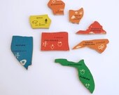 Wooden State Puzzle Pieces - Swing States Set -