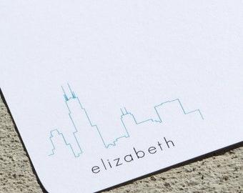 Chicago Skyline Personalized Stationery - Notepads or notecards - Personalized Stationery - Austin and Minneapolis