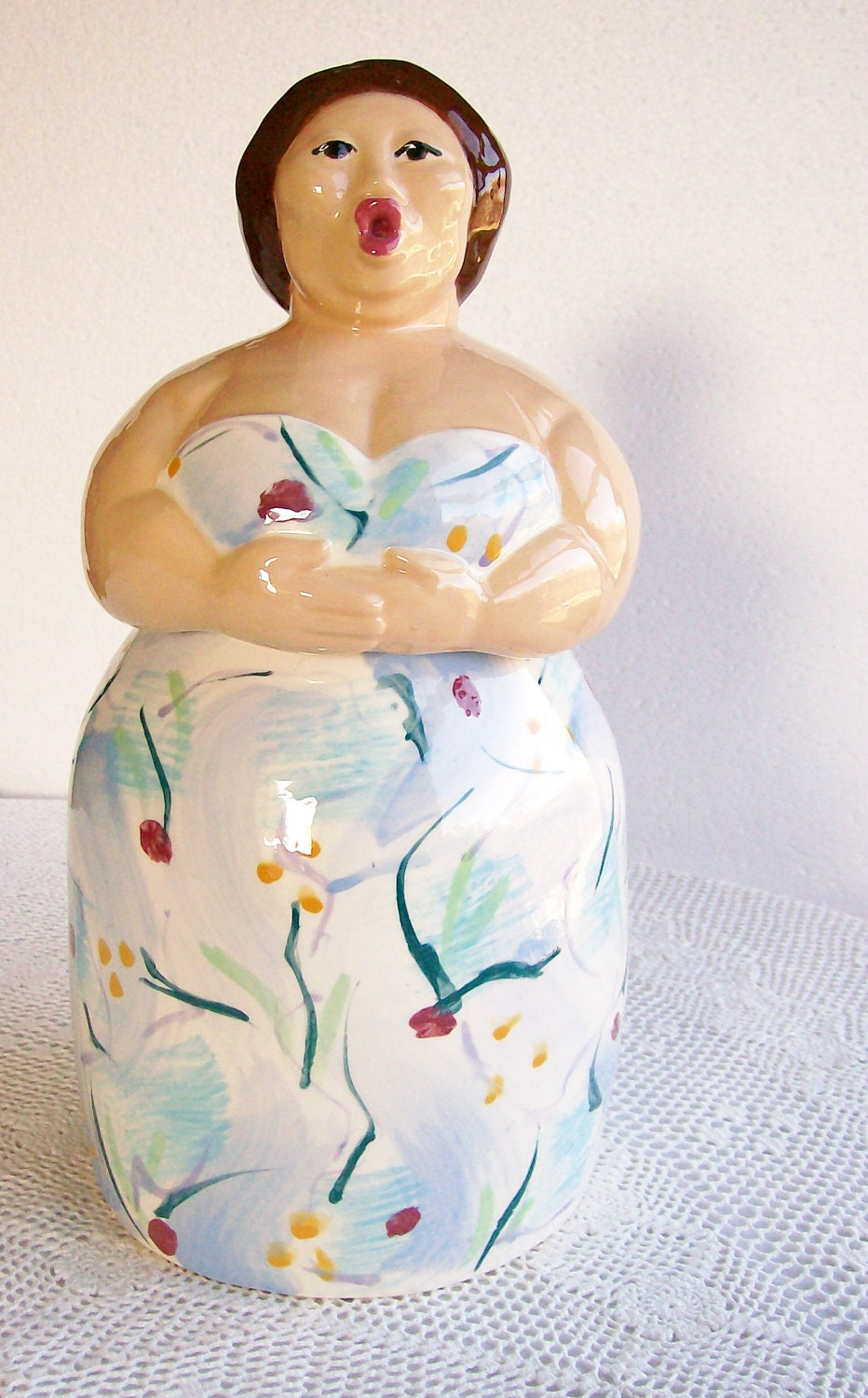 Reserved Vintage Ceramic Cookie Jar A Little
