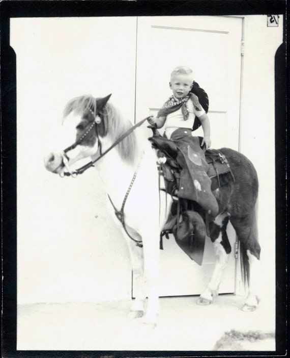 Vintage photo Little Costume Cowboy Rides Horse