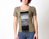 SALE Green top, long tee with grey and black patchwork - Military fashion -  size M