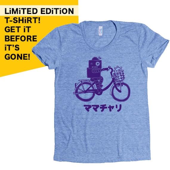 Mamachari - Mama Bike - Ladies Tri-Blend Athletic Blue T-shirt
