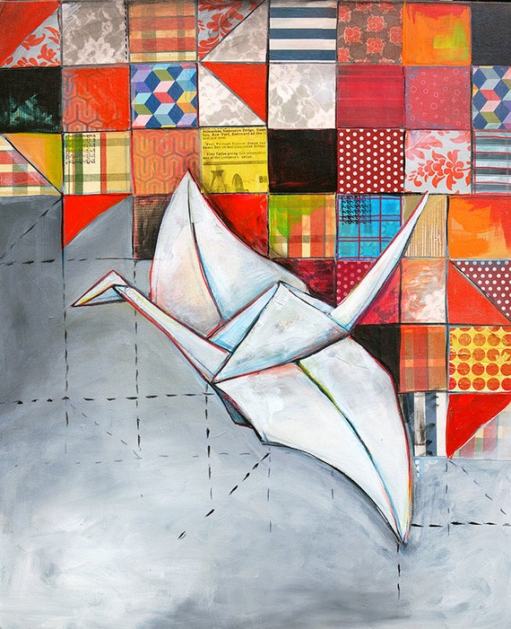 Paper Crane Painting with Quilt 11X17 print - origami, large print, paper squares, quilt, white and gray