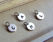 Add A Letter Charm, Antiqued Silver or Gold Plated, Monogram Disc, Stamped Disc Charm, Personalize - 4015