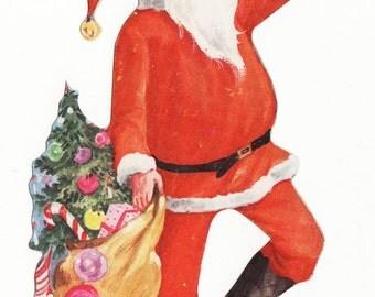Vintage Christmas Santa Gift Tag - large size and unused