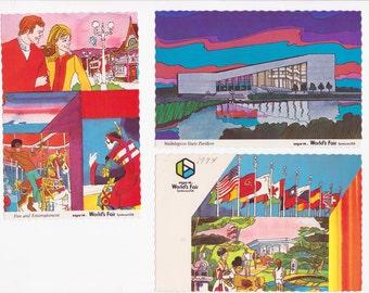 1974 Worlds Fair Expo Spokane - 3 Vintage Postcards - Super Colorful