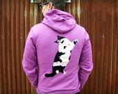 Laser Cat purple hoodie - adult sizes