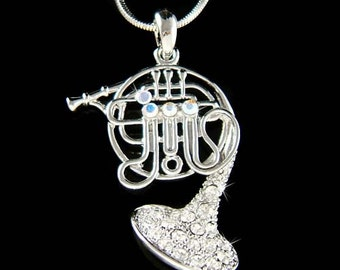 Swarovski Crystal Brass FRENCH HORN trumpet cornet charm Pendant Music Musical Instrument Necklace Musician Christmas Gift New
