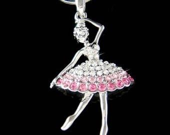 Pink Swarovski Crystal BALLERINA Ballet Dance Girl Dancer dancing Pendant Necklace