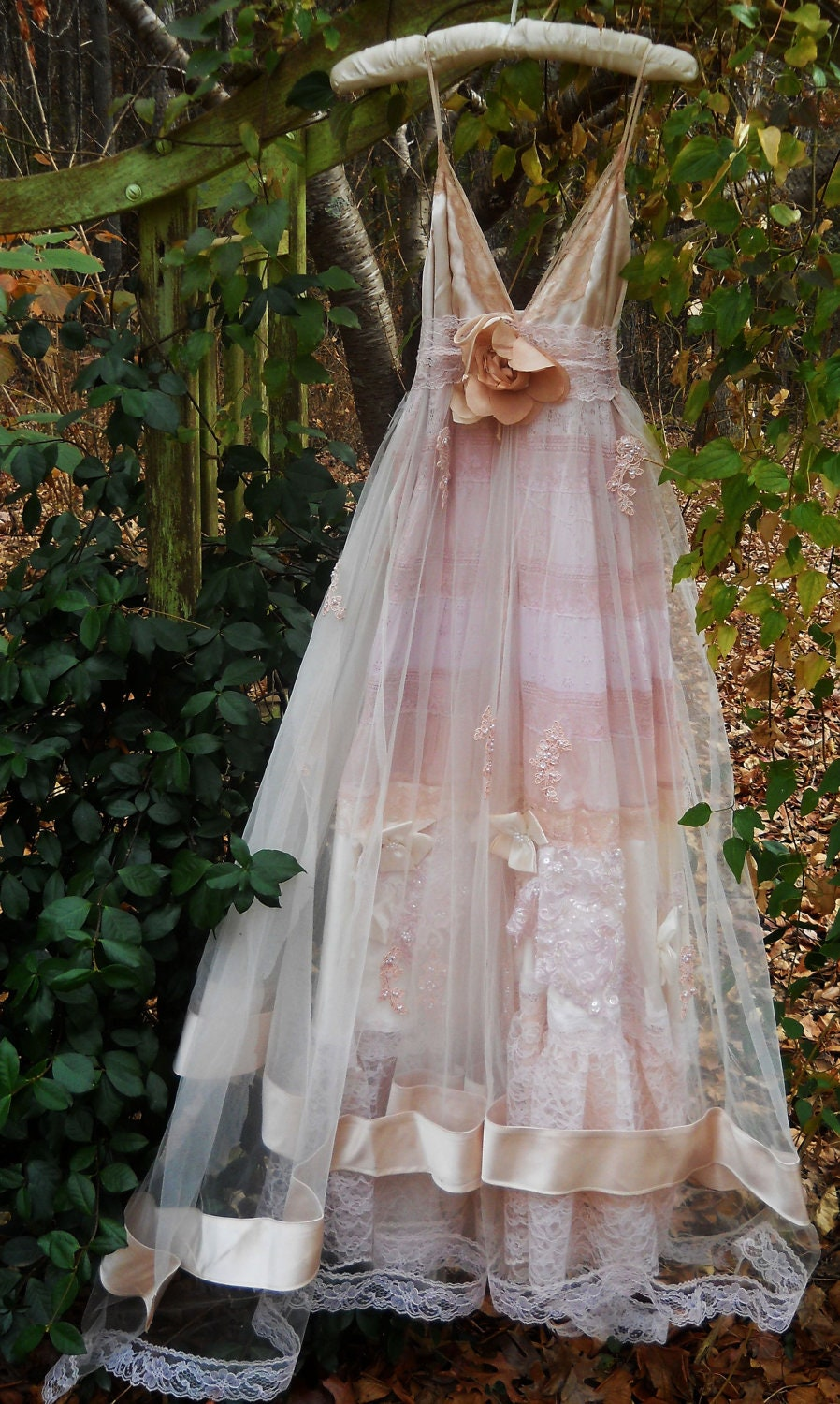 Blush wedding dress vintage tulle satin beading ethereal for Vintage sites like etsy