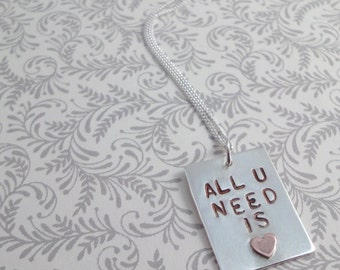 All U Need Is Love Silver & Copper Necklace