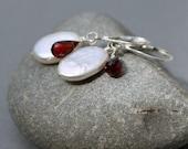 Garnet & Coin Pearl Earrings,  Sterling Silver Lever back, January Birthstone, June Birthstone