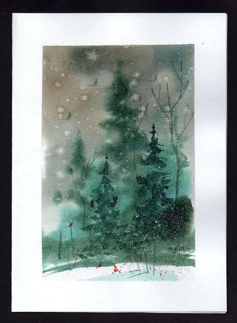 Hand painted watercolor christmas card Christmas card scenes to paint