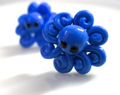 Polymer Clay Blue Octopus Earring Studs
