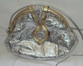 Silver / Gold Embossed / Metallic Leather / Shoulder Bag / Clutch Purse / Vintage 1980s
