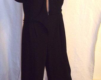 DW3 for David Warren Vintage 1980s Dressy Black Jumpsuit Size 10 Mandarin Collar