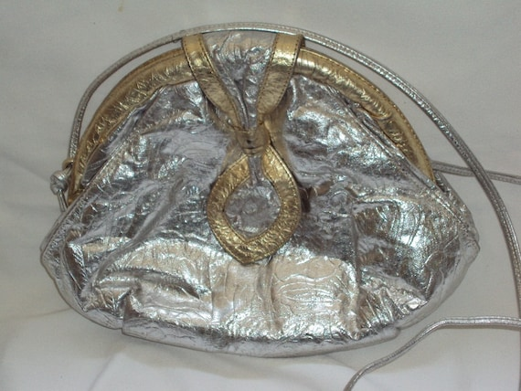 Silver / Gold Embossed / Metallic Leather / Shoulder Bag / Clutch Purse / Vintage 1980s