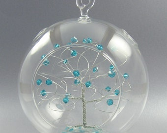 Birthstone Christmas Ornament  December Blue Zircon Swarovski Crystal Elements and Silver