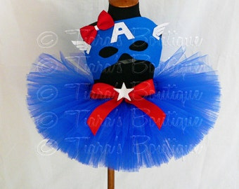 "Girls Halloween Costume Tutu Set - Captain America - Red White Blue Tutu - Custom Sewn 8"" Tutu w/ Mask - sizes up to 5T"