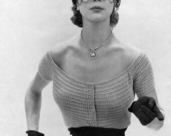 1950s Rhinestone Evening Blouse - Vintage Knitting Pattern - PDF eBook