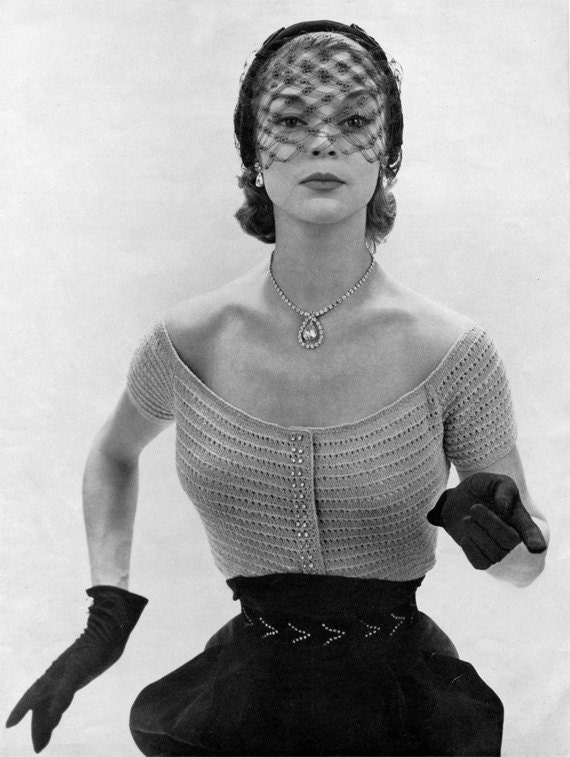1950s Rhinestone Evening Blouse - Vintage Knitting Pattern - PDF eBook
