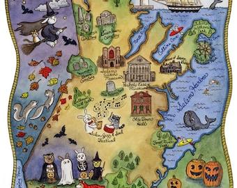 "Map of Salem Massachusetts Art Print 11"" x 14"""