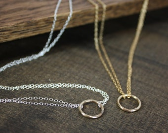 Simple Gold, Sterling Silver Necklace - Eternal Circle