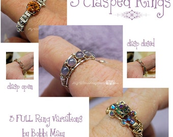 Clasp Ring Tutorial, Wire Wrap Clasp Ring Tutorial, 3 FULL VARIATIONS, Wire Jewelry Rings, Tutorial Discount Package, How To Wire Wrap Rings