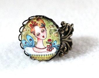 Bronze Ring, Garden Girl Art Ring, Storybook Filigree Ring, Victorian Cocktail Ring, Gold Jewelry, Original Art Print, Green Blue