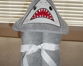 Personalized Shark Towel Hoodie  with attached Fin - Hooded Towel - Beach Coverup - Embroidered Shark child's towel wrap - Child's Bath Wrap