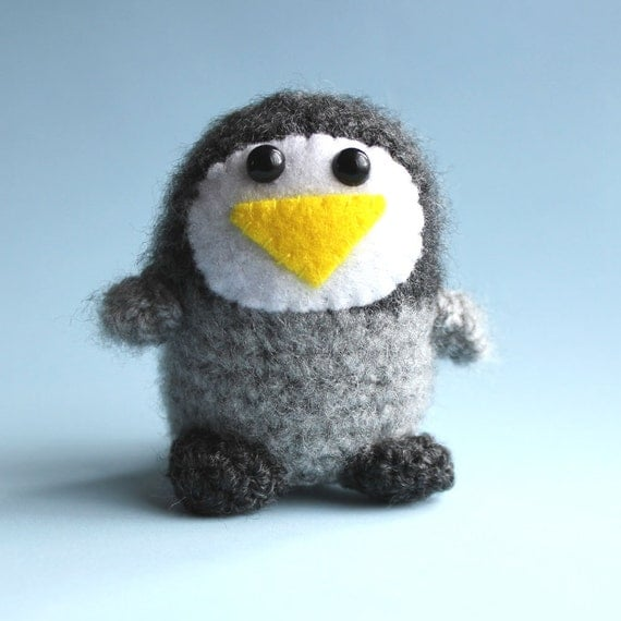 Reserved for Daisymoos - Icepop the Fluffy Amigurumi Penguin Miniature Collectable