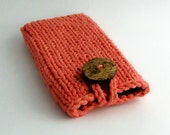 Cell Phone Case iPhone 4/5/6/ Samsung Galaxy s3/s4/s5 Knit Cotton Fabric Tangerine Coral Handknit Fabric Natural Coconut Button Crochet Loop