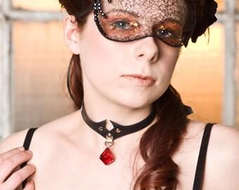 Rhinestones and Lace Mask, Elegant Burlesque, Gothic, Masquerade