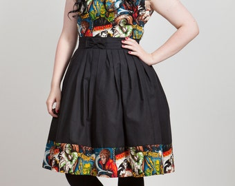 Horror Movie Monsters Summer Dress, Sample Sale, Size 12-14 UK
