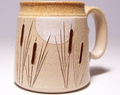 Cattails and Moon Pottery Coffee Mug Limited Series 39 (microwave safe) 12oz