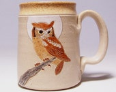 Owl and Moon Large 16 ounce Pottery Coffee  Mugs Limited Series 205