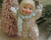 Vintage Style Snowbaby Figurine/Ornament Dancing with Left Leg Up and Fluffly Blue Chenille Handmade Collectible