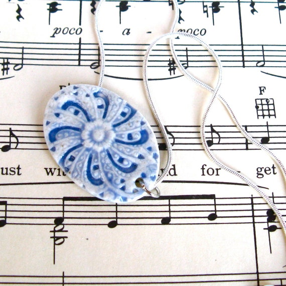 Blue & White Porcelain Pendant - Sterling Silver Snake Chain  - delft blue porcelain jewelry