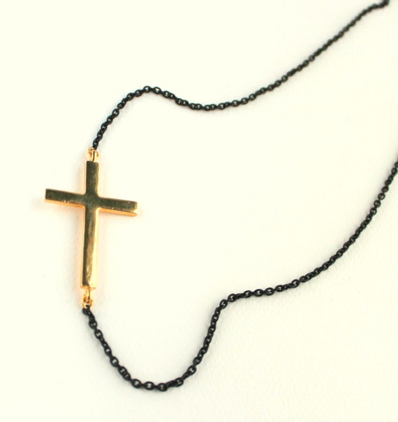 Sideways Cross Necklace, Rocker Chic, Gold Sideways Cross, Big Cross Necklace, Black Chain, Large Gold Cross, Edgy, Glam