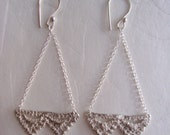 Lace double Pyramid chandelier Earrings in sterling silver
