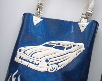 Sale!  Metalflake sparkle vinyl tote bag blue with white merc and flames