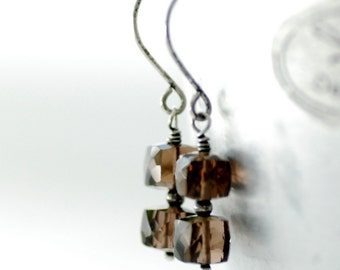 Smoky Quartz Earrings, Gemstone Earrings, Brown Earrings, Sparkly Earrings, Oxidized Sterling Silver - Wisp of Smoke