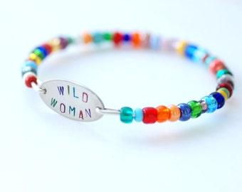 Stamped Bracelet, Wire Bangle Bracelet, Beaded Bangle, Colorful Bracelet, Rainbow, Bridesmaid Jewelry, Minimalist, Word Jewelry - Wild Woman