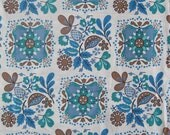 1950's oak leaf, acorn, and floral tile print cotton fabric in shades of periwinkle, blue, teal, light brown on cream, 2 2/3 yards available