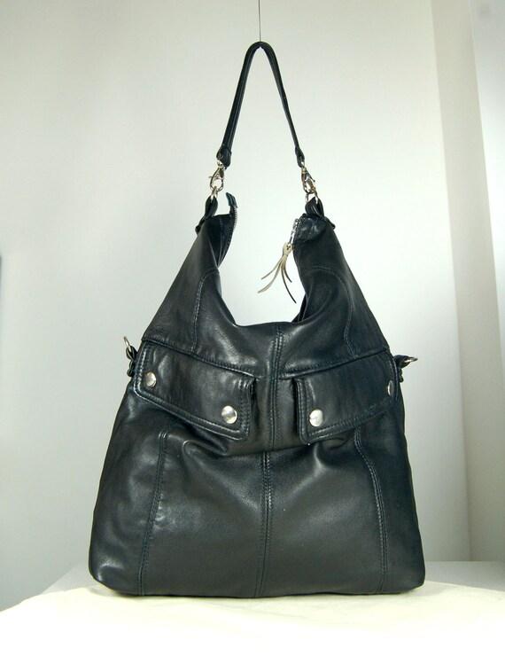 Elise, black leather two size messenger bag handmade.