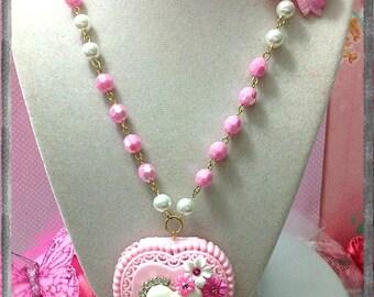 SALE Barbie Pink Flowers Heart Locket Kawaii Necklace