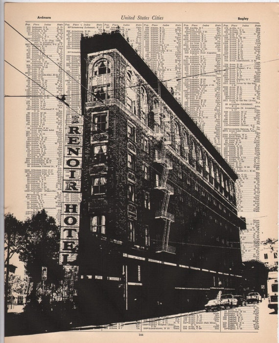 LAST CHANCE SALE - San Francisco - Dark City no2 -- 11 x 14 Book Page Print - Market Street